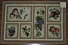 grapes grape themed kitchen rug: x kitchen rug mat beige tan praline washable fruit grapes pears apples peach
