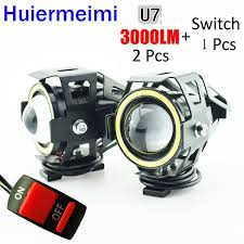 Huiermeimi <b>1Pair Motorcycle</b> Headlights <b>125W</b> 12V 24V U7 LED ...