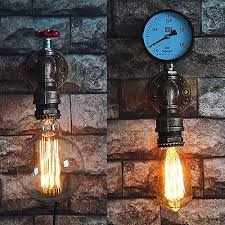 1x <b>Vintage</b> Light Water Pipe <b>Nostalgia Industrial</b> Wall Lamp Secone ...