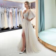 Gray Crystal Prom Dresses Beading Bodice Short Sleeves <b>Walk</b> ...