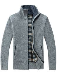 Men Stand Collar Zip Sweater Casual Knit Cardigan Checkered ...