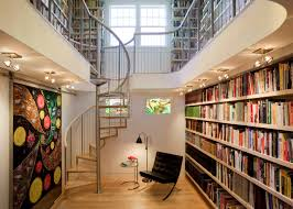 interior massive built in stair built home library