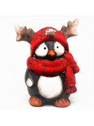 Сувенир Пингвин рогатик в красном шарфе средний, 10,5х8х12 ...
