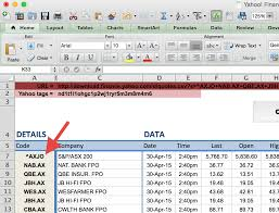 how to import share price data into excel market index column a in spreadsheet example