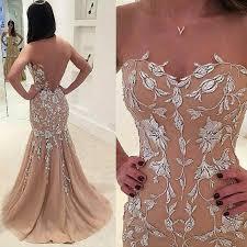 Nectarean Champagne Prom Dress - <b>Illusion</b> Jewel Sweep Train ...