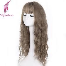 <b>Yiyaobess 24inch</b> Long Wavy Wig With Bangs Synthetic Hair <b>Black</b> ...