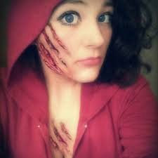 diy little red riding hood make up bubblegum glue and some fake blood