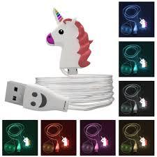 Glowing Rainbow Unicorn USB Charging <b>Cable</b> | <b>Funny emoji</b> faces ...