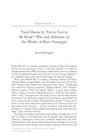 god damn it you ve got to be kind rdquo war and altruism in the works new critical essays on kurt vonnegut new critical essays on kurt vonnegut