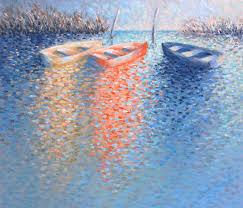 three rowboats ibracrylic painting on canvasbr29 x 35 acryclic painting soft