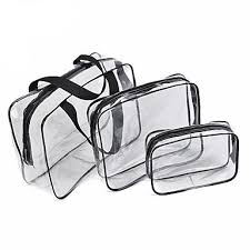 <b>3Pcs</b> Cosmetic Bag Set Transparent Beauty Bag Waterproof ...