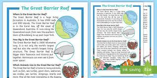 Great <b>Barrier Reef</b> Fact File (teacher made)