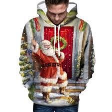 Hoodie Sweatshirts Men Christmas <b>Xmas Santa Print</b> Long Sleeve ...
