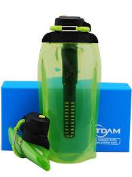 Складная эко <b>бутылка VITDAM</b>, желто-зеленая, объем 860 мл ...