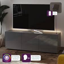Frank Olsen High Gloss Grey 1500mm <b>TV Cabinet with LED</b> ...