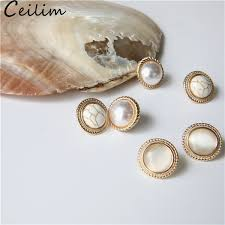 2019 <b>New Vintage</b> Round Big Opal Stone Stud <b>Earrings For</b> Women ...
