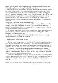essay critical writing essay example writing a critical essay essay example of critical analysis essay critical writing essay example