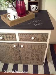 diy decoupaged coffee sack furniture cabinet stowtellu burlap furniture