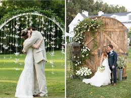 you can make a ceremony arch braided with abundant greenery or make a more homely type altar with doors made up of wood for reception mismatched furniture backyard wedding ideas