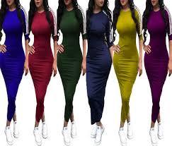 Women <b>Spring</b> Half Sleeves <b>Striped Bodycon</b> Clubwear Cocktail ...