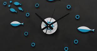 Large 3D DIY Wall Clock Mediterranean fish Nordic <b>pastoral</b> style ...