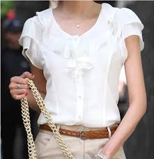 2019 Women <b>Ruffle Chiffon Blouse</b> White <b>Shirt</b> Female Short ...