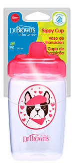 <b>Чашка</b>-<b>поильник с твердым носиком</b> Розовая собачка Milestones ...