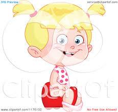 cartoon of a happy blond girl sitting on a potty training toilet cartoon of a happy blond girl sitting on a potty training toilet royalty vector clipart by yayayoyo