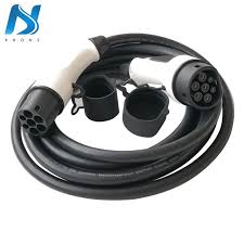 32a single phase ev cable j1772 type 1 to 2 iec 62196 2 charging plug with 5 meter spiral cable tuv ul electric vehicle