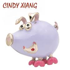 <b>CINDY XIANG 2 Colors</b> Available Enamel Pig Brooches for Women ...