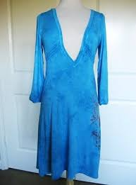 GYPSY 05 Vibrant Turquoise <b>BOHO Deep V-Neck</b> Rayon Dress Size