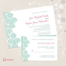 damask border invitation and rsvp set ← printable invitation kits damask border wedding invitation