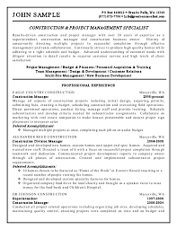 resume for construction getessay biz and project management specialist resume example in resume for