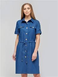 Джинсовое <b>платье прямого силуэта на</b> кнопках, пояс кулиска ...