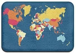AmyNovelty Door Mat, <b>World Map</b> Outdoor Indoor <b>Antiskid</b> ...