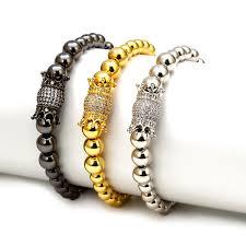 MEIBEADS <b>1pc</b> CZ <b>Zircon Luxury</b> Royal Crown Charm Bracelet Men ...
