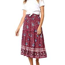 Skirt for Women,Bohemian Floral Printed Elastic Waist ... - Amazon.com