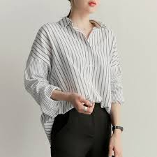 2018 <b>Shintimes</b> Blusas Plus Size Loose White Striped <b>Shirt Long</b> ...