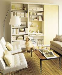 storage solutions living room: several bookcases could become your tiny yet functional home office right in the living room