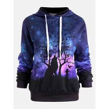 Women Wolf <b>Digital Printing</b> Hoodie <b>Halloween</b> – Pulling Turns