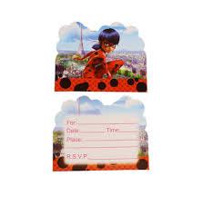 <b>10PCS Miraculous</b> Ladybug BIRTHDAY INVITATION CARDS LOOT ...