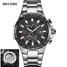 <b>BOYZHE Men Automatic Mechanical</b> Watch Fashion Stainless Steel ...