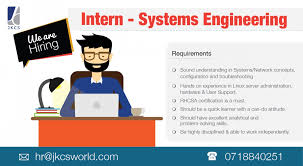 system engineers interns job vacancy in sri lanka sound understanding in systems network concepts configuration and troubleshooting hands on experience in linux server administration hardware user