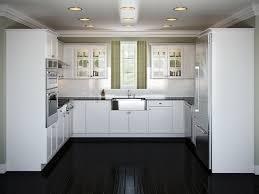 stainless steel apron front kitchen sink and subway tile backsplash also recessed kitchen lighting in white u shaped kitchen design ideas backsplash lighting
