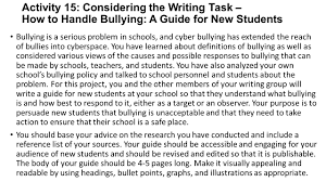 bullying activity quickwrite have you ever been bullied activity 15 considering the writing task how to handle bullying a guide for