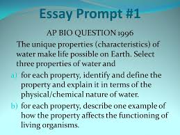 how to grade essays use a highlighter to mark all the statements  essay prompt  ap bio question  the unique properties characteristics of water