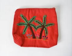 Ethnic embroidered purse <b>palm tree</b>, Cotton pouch | Red purses ...