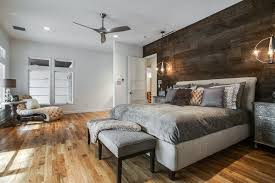 dining room barn wood wall reclaimed wood wall bedroom contemporary with metal ceiling fan gray