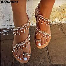 <b>TINGHON Summer Women Shoes Sandals</b> Pearl Beads Thong Flat ...