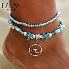 Classics Bohemia <b>Style</b> Turquoise <b>Natural Stone</b> Beach Anklet ...